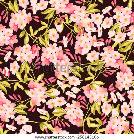Seamless floral pattern with pink flowers on dark  fonts - stock vector