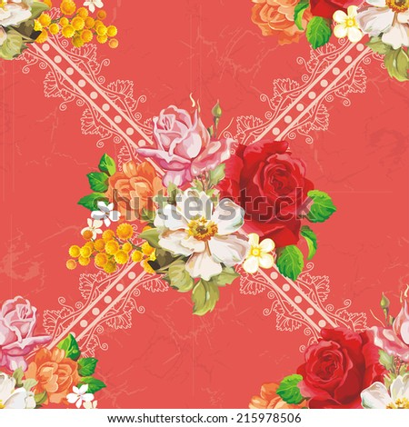 Seamless floral pattern with pink roses on red background. Elegance vector illustration - stock vector