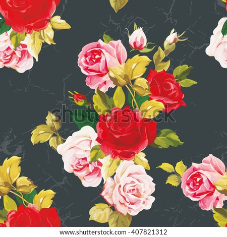 Seamless floral pattern with red and rose flowers Vector Illustration EPS8 - stock vector