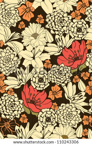 Seamless Floral Pattern With Red  Flowers - stock vector
