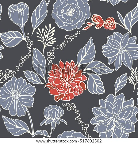 Seamless Floral Pattern With Red Flowers On Monochrome dark Background