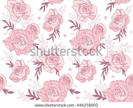 Seamless floral pattern with roses.  Modern floral background.