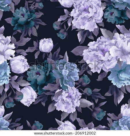 Seamless floral pattern with roses on dark background, watercolor. Vector illustration. - stock vector