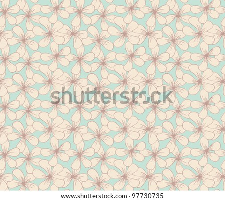 Seamless floral pattern with simple vintage flowers