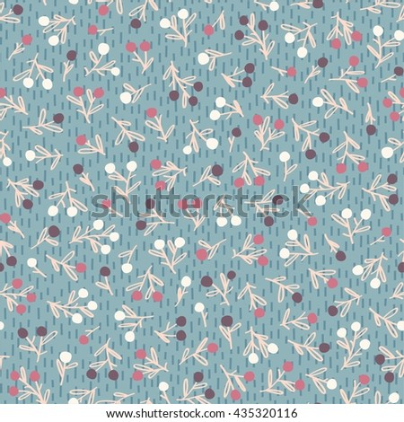 Seamless floral pattern with small berries - stock vector