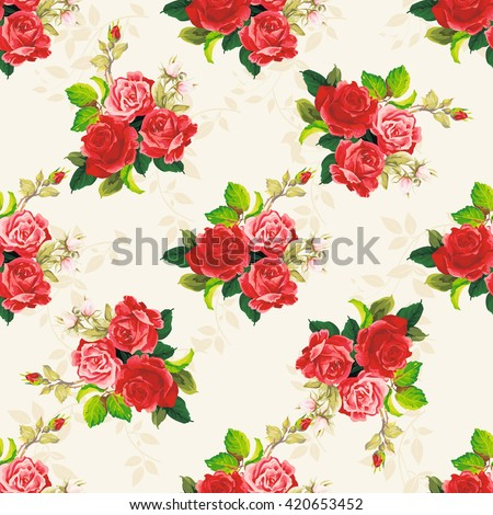 Seamless floral pattern with three rose Vector Illustration EPS8 - stock vector