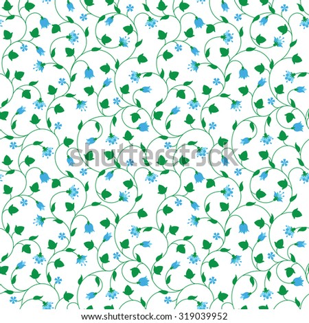 Seamless floral pattern with tiny blue flowers isolated on white. Vector illustration. - stock vector
