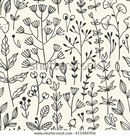 Seamless floral pattern with twigs. Vector illustration.