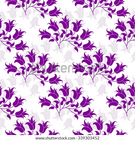 Seamless floral pattern with violet flowers, vector EPS 10 - stock vector