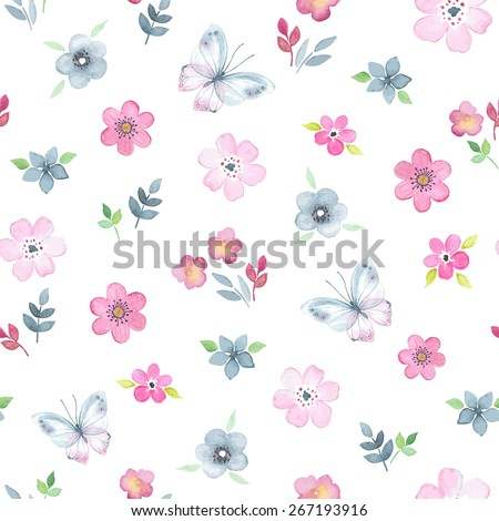 Seamless floral pattern with watercolor flowers and butterflies in vintage style. - stock vector