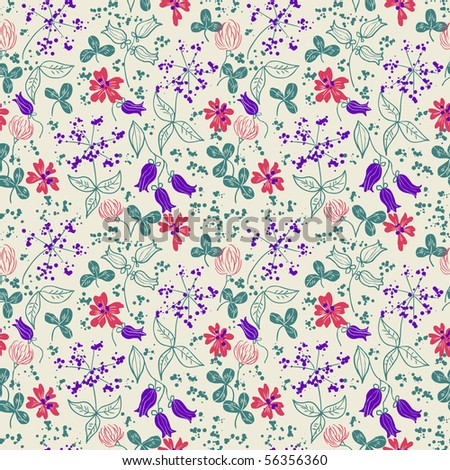 Seamless floral pattern with wildflowers - stock vector