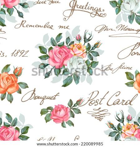 seamless floral pattern words flower vector stock vector. Black Bedroom Furniture Sets. Home Design Ideas
