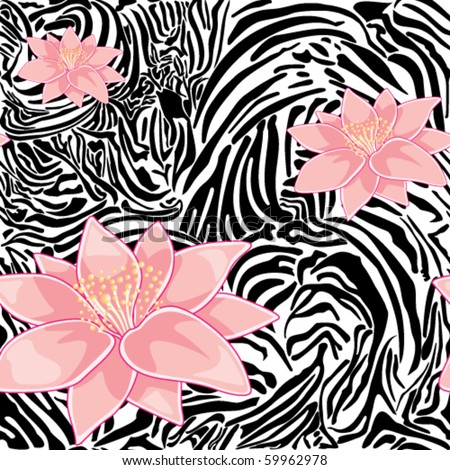 Seamless floral pattern with zebra print - stock vector