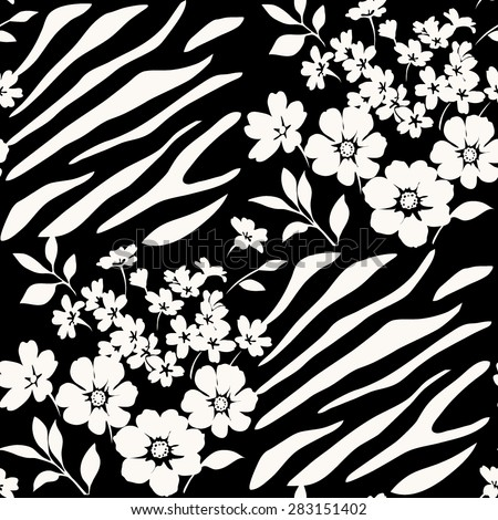 Seamless floral pattern with zebra stripes - stock vector