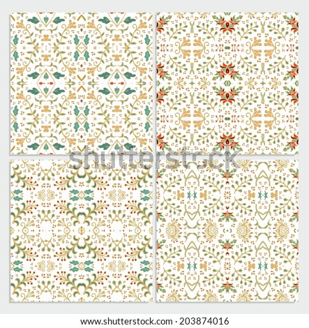 Seamless floral patterns - set  - stock vector