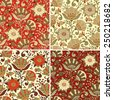 Seamless floral patterns set. Abstract textures with flowers. Vector backgrounds. - stock vector