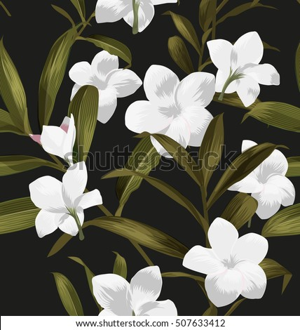 Seamless floral patterns with Plumeria pudica flower.