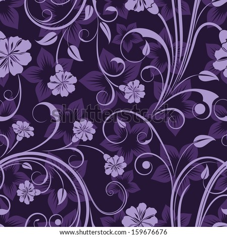 Seamless floral purple flower vector wallpaper pattern. - stock vector