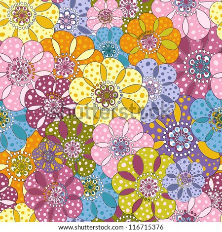 Seamless floral spotty vivid pattern with colorful flowers (vector) - stock vector