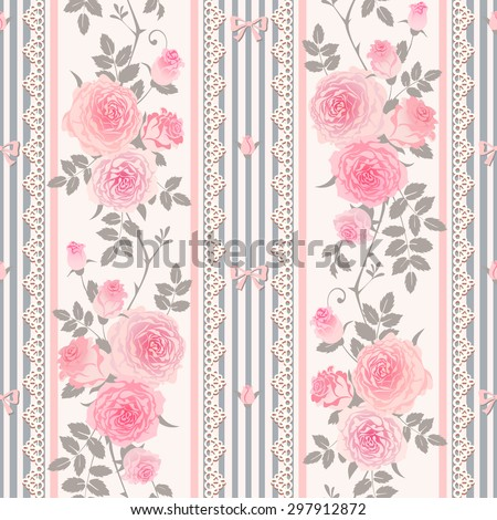 Seamless Floral Striped Background Shabby Chic Style Pattern With Pink Roses Leaves Laces