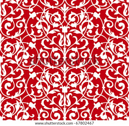 Seamless floral structure. Red vector ornament on white background - stock vector