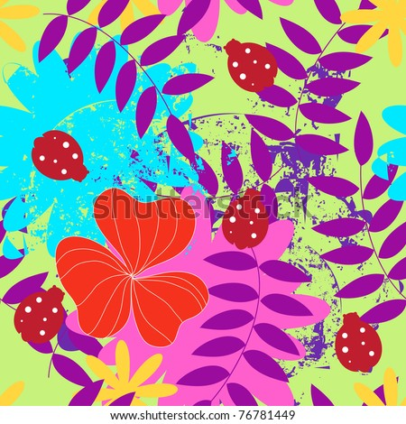 seamless floral vector illustration with insects