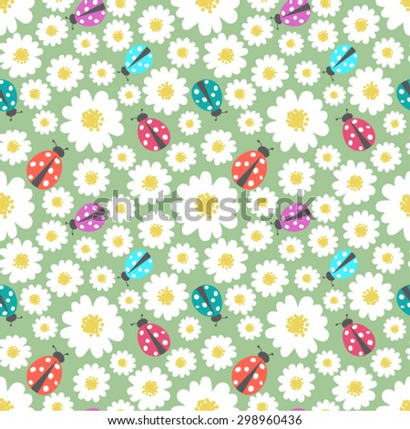 Seamless floral vector pattern with ladybug   - stock vector