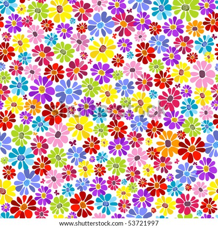 Seamless floral vivid pattern with colorful flowers (vector) - stock vector