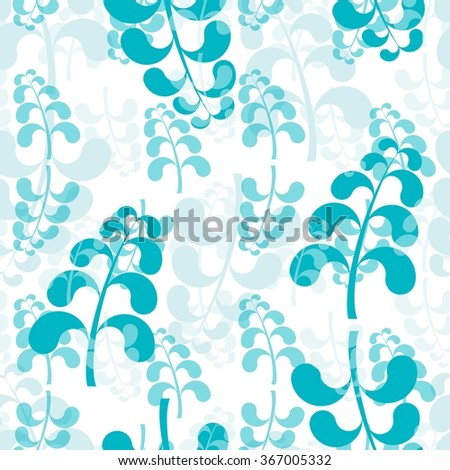 Seamless floral wallpaper with blue elements on white - stock vector
