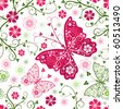 Seamless floral white pattern with flowers and butterflies (vector) - stock vector