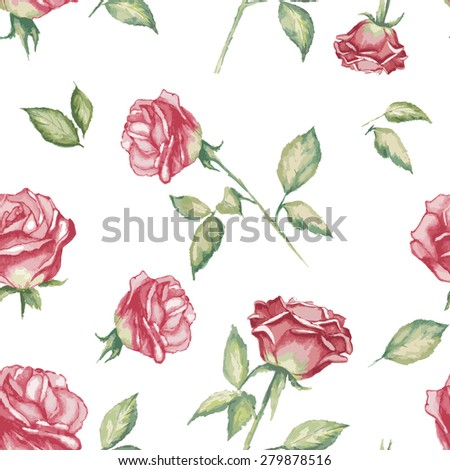 Seamless  flower background with watercolor Rose - stock vector