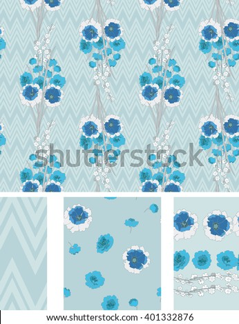Seamless Flower  Japan Roses  Pattern. Summer background garden. Vector design for fabric - stock vector