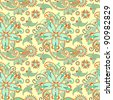 seamless flower paisley design background - stock photo