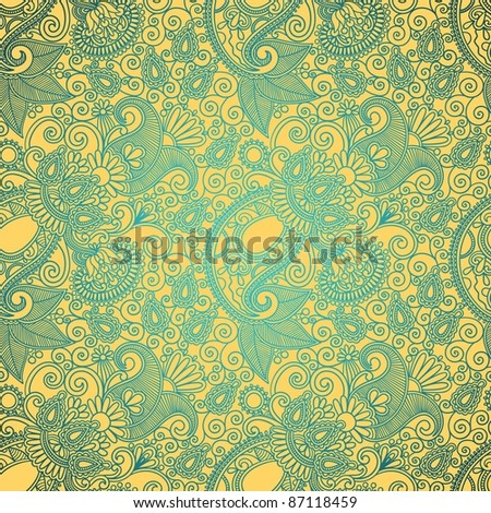 seamless flower paisley design background - stock vector