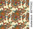 seamless flower paisley design background. Ukrainian traditional pattern - stock photo