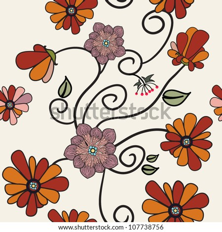 Seamless flower pattern. Seamless pattern can be used for wallpaper, pattern fills, web page background, surface textures.