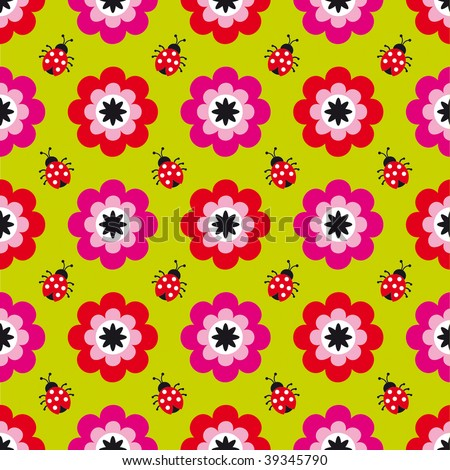 Seamless flower pattern with ladybugs in vector - stock vector
