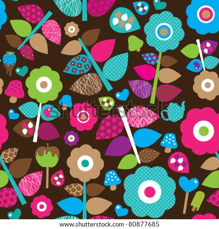 Seamless flower retro background pattern in vector - stock vector