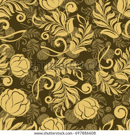 Seamless Flower Wallpaper In Gold Colors Abstract Floral Vector Background