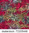 Seamless flowers background with roses. Vector illustration - stock vector