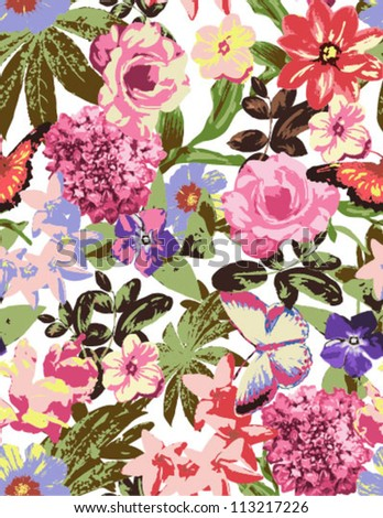 seamless flowers,floral ,vintage pattern,tropical flower,flowers background - stock vector