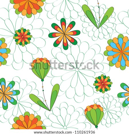 seamless flowers pattern. Can be used for wallpaper, pattern fills, web page background, surface textures.