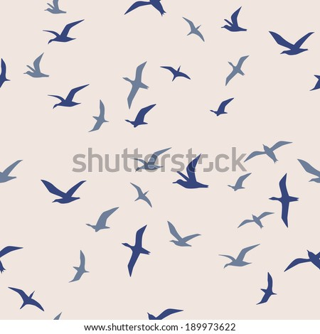 seamless flying birds - stock vector