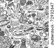 Seamless food doodle pattern - stock vector