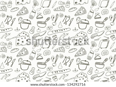 Seamless Food Icons - stock vector
