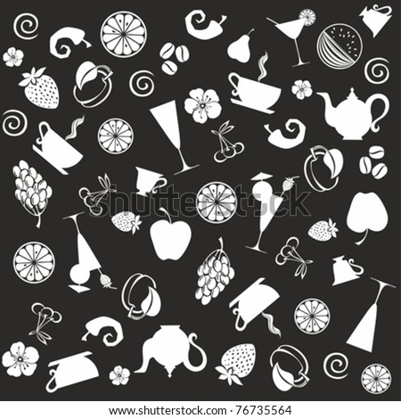 seamless food pattern. black ornament vector