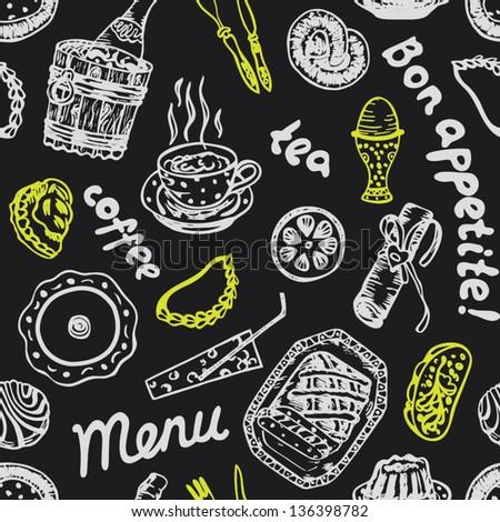 Seamless food pattern on grey blackboard in vector - stock vector