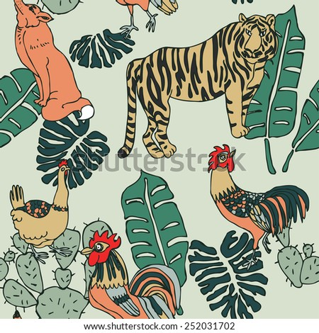 Seamless forest pattern with animals and birds in vector - stock vector