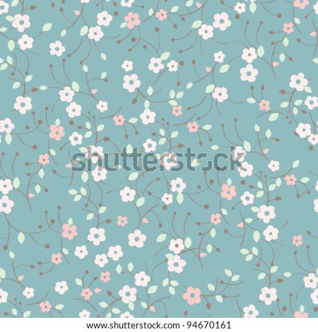 Seamless forget-me-not flowers pattern.  Floral background - stock vector