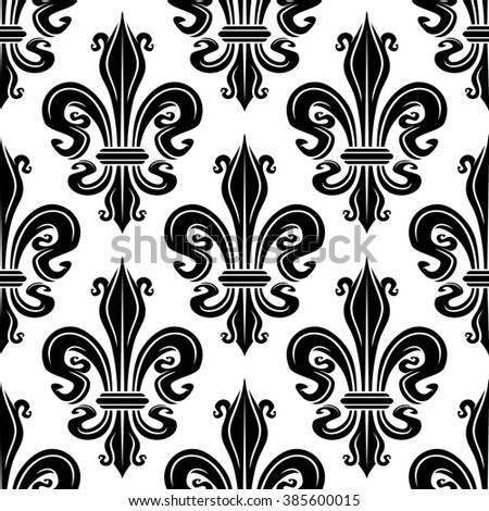 Seamless French Royal Lilies Black White Stock Vector 385600015